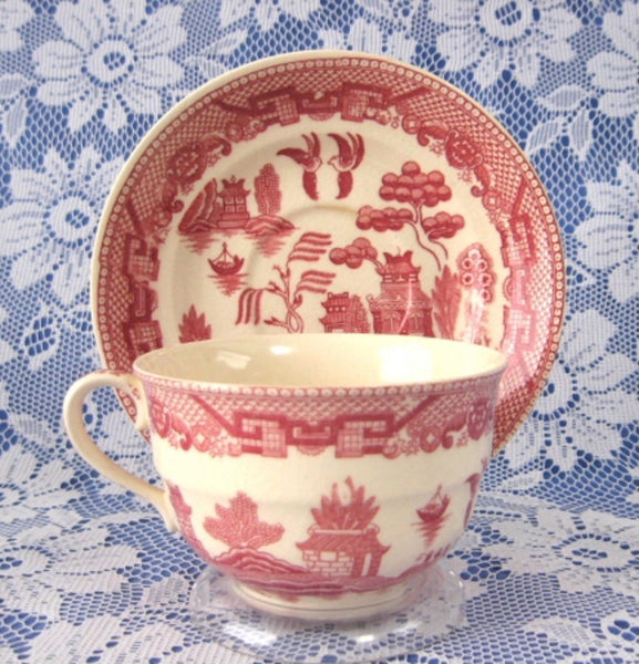 Cup And Saucer Willow Red Transferware England Ridgway Old