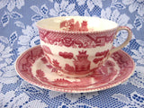 Cup And Saucer Willow Red Transferware England Ridgway Old Willow 1890s - Antiques And Teacups - 3
