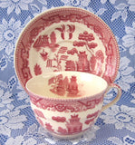 Cup And Saucer Willow Red Transferware England Ridgway Old Willow 1890s - Antiques And Teacups - 4