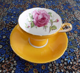 Aynsley Corset Cup And Saucer Goldenrod Rose Center 1940s Bone China Tea Party - Antiques And Teacups - 1