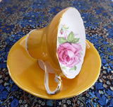 Aynsley Corset Cup And Saucer Goldenrod Rose Center 1940s Bone China Tea Party - Antiques And Teacups - 2