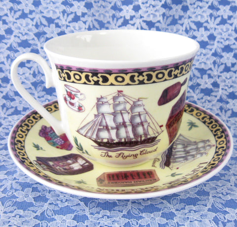 Tea Roy Kirkham Breakfast Size Cup And Saucer English Bone China New Flying Cloud - Antiques And Teacups - 1