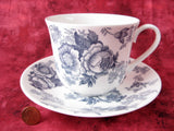 Blue Victorian Breakfast Size Roy Kirkham Cup And Saucer English Bone China New Large - Antiques And Teacups - 1