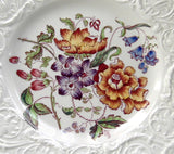 Bognor Wedgwood Plate Floral Molded Patrician Lunch Plate 1940s Flower Bouquet Creamware - Antiques And Teacups - 2
