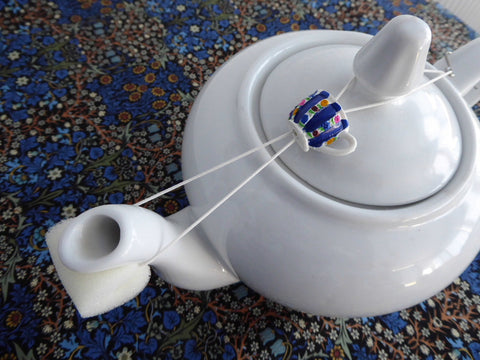 Blue Striped Teacup Teapot Drip Catcher Resin Floral Drip Stopper Sponge Hook - Antiques And Teacups - 1