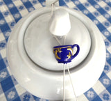Celestial Stars Blue Teacup Shaped Teapot Drip Catcher Resin Gold Stars New Keep Lid On - Antiques And Teacups - 2