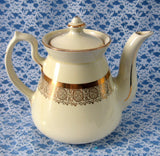 Hall Philadelphia Teapot White and Gold Large 6 Cup Standard Gold 1950s Retro Tea Pot - Antiques And Teacups - 3