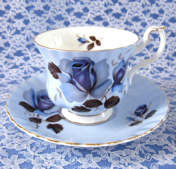 Royal Albert Blue Rose Cup And Saucer English Bone China