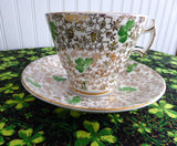 Shamrock Chintz Cup And Saucer Phoenix England Art Deco Forester 1930s St. Patrick's Day Irish - Antiques And Teacups - 1