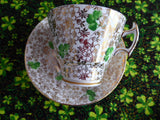 Shamrock Chintz Cup And Saucer Phoenix England Art Deco Forester 1930s St. Patrick's Day Irish - Antiques And Teacups - 3