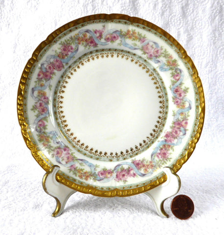 Gorgeous Haviland Limoges Side Plate Ornate Floral Gold Roses Antique 1900-1910 - Antiques And Teacups - 1