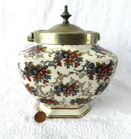 Vintage English Chintz Biscuit Barrel 1930s Cookie Jar Floral Lancaster EPNS - Antiques And Teacups - 1