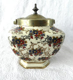 Vintage English Chintz Biscuit Barrel 1930s Cookie Jar Floral Lancaster EPNS - Antiques And Teacups - 3