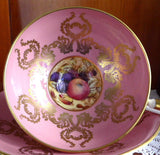 Ornate Cup And Saucer Aynsley Pink Gold Overlay Fruit Center 1950s Bone China - Antiques And Teacups - 1