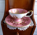 Ornate Cup And Saucer Aynsley Pink Gold Overlay Fruit Center 1950s Bone China - Antiques And Teacups - 2