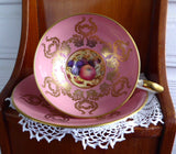 Ornate Cup And Saucer Aynsley Pink Gold Overlay Fruit Center 1950s Bone China - Antiques And Teacups - 3