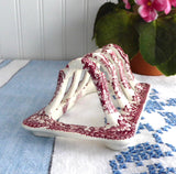 Mason's Vista Red Transferware Toast Rack Vintage 1950s Toast Holder Letters Tea Party Ironstone - Antiques And Teacups - 2