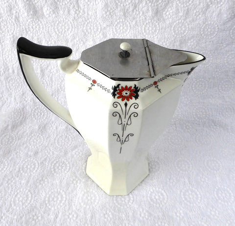 Art Deco Shelley Red Daisy Queen Anne Hot Water Teapot 1930s Red Enamel - Antiques And Teacups - 1