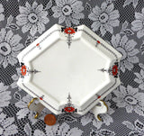 Shelley Red Daisy Tea Pot Stand Teapot Trivet Queen Anne Square Art Deco 1920s - Antiques And Teacups - 2