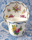 Dresden Spray Breakfast Size Cup And Saucer Roy Kirkham Flowers Floral Bone China - Antiques And Teacups - 2