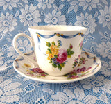 Dresden Spray Breakfast Size Cup And Saucer Roy Kirkham Flowers Floral Bone China - Antiques And Teacups - 3