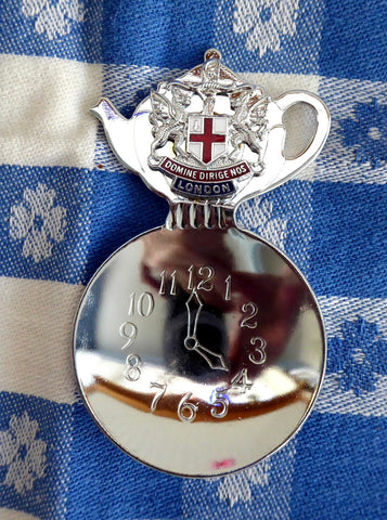 Boxed Tea Caddy Spoon 4 O Clock Bowl Teapot Finial London England Souvenir - Antiques And Teacups - 1