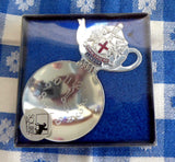 Boxed Tea Caddy Spoon 4 O Clock Bowl Teapot Finial London England Souvenir - Antiques And Teacups - 3