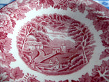Red Transferware English Scenery Sauce Bowl Jam 1940s Enoch Woods Woods Ware Rural Scene - Antiques And Teacups - 4