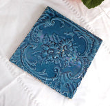Victorian English Teal Aesthetic English Staffordshire Tile Majolica Art Pottery 1870s Trivet