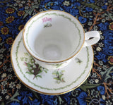 Miniature Lily Of The Valley May Cup And Saucer Queen's Bone China Mini 1970s - Antiques And Teacups - 4
