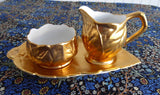 Royal Winton Gold Luster Cream And Sugar With Matching Tray 1950s Leaves - Antiques And Teacups - 1