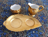 Royal Winton Gold Luster Cream And Sugar With Matching Tray 1950s Leaves - Antiques And Teacups - 3