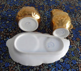 Royal Winton Gold Luster Cream And Sugar With Matching Tray 1950s Leaves - Antiques And Teacups - 4