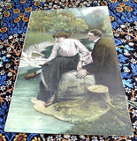 Edwardian Romance Postcards Set Of 4 Real Photos Captions Gold Metallic Accents 1900