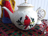 Lenox Winter Greetings Large Teapot American Red Cardinal Holly Christmas Tea - Antiques And Teacups - 2