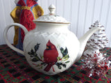 Lenox Winter Greetings Large Teapot American Red Cardinal Holly Christmas Tea - Antiques And Teacups - 3