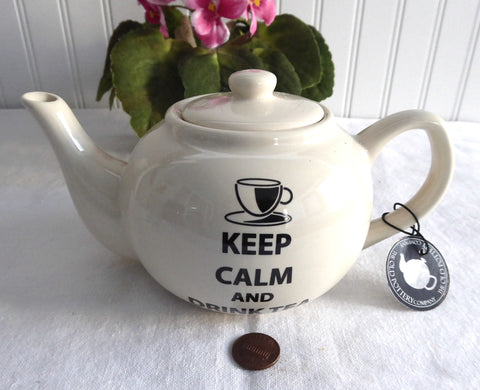 Teapot Tea For Two Keep Calm And Drink Tea Old Pottery Company With Tag