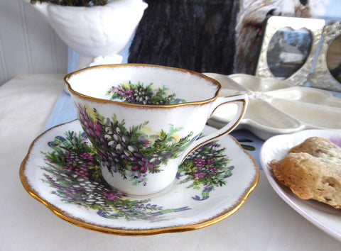 Scottish Heather Rosina Cup And Saucer Pink Purple And White 1950s Tartan Ribbons Scotland