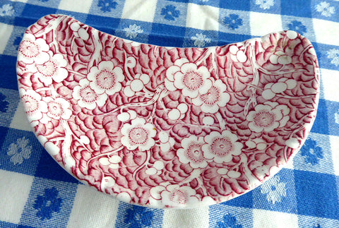 Crescent Bone Dish Adams Red Transfer Staffordshire Flower 1940s Side Dish