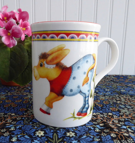 Comical Donkeys In Clothes Mug English Bone China 1980s Childrens