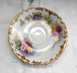 Limoges Hand Painted Cup And Saucer Signed Antique T&V Edwardian Teacup
