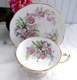 Sweet Romance Orchids Roslyn Cup And Saucer Pink Ochids Blue Bows 1950s Romantic Love Token