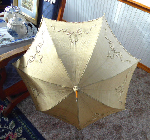 Parasol Edwardian Raw Silk Embriodered England Cream Color Replaced Handle Victorian Original