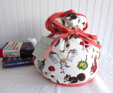 Woodland Tea Cozy Padded Muff Style Cosy Ulster Large Flora Fauna Madeleine Floyd