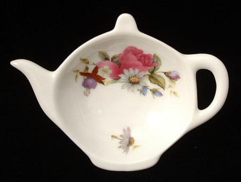 Teapot Shape Tea Bag Caddy Floral Bouquet England Allyn Nelson - Antiques And Teacups - 1