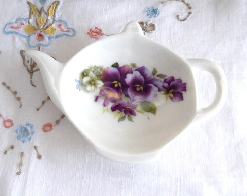 Teapot Shape Tea Bag Caddy Pansies England Bone China Allyn Nelson Royal Patrician