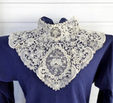 Antique Lace collar Point de Gaze Mixed Lace Brussels 1800s Hand Made Bridal Ecru Wedding