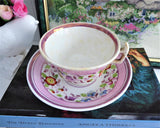 Victorian Pink Copper Luster Cup And Saucer Floral 1830s Pattern Victorian Floral