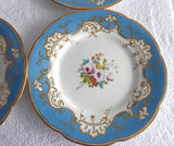 Set of 4 Ridgway Luncheon Plates 1856-1858 Hand Painted Florals Blue Borders Exquisite
