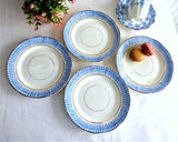 Set 4 Royal Staffordshire Blue Transferware Glencoe Side Plates 1879s Salad Mid Victorian